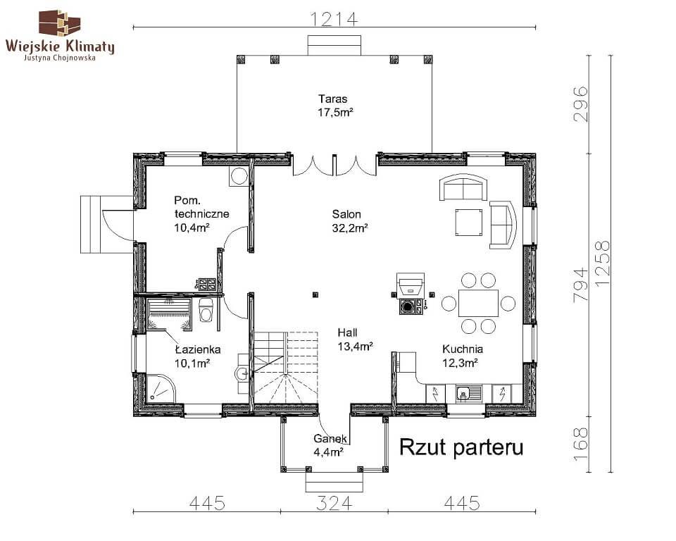 projekt domu drewnianego mazurskiego lenka 1,1