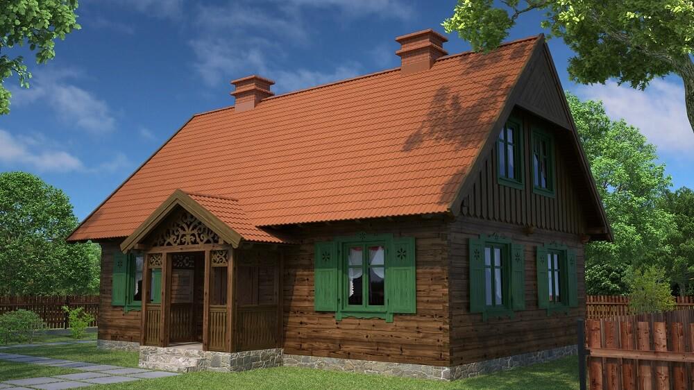 projekt domu drewnianego mazurskiego lenka 1,10