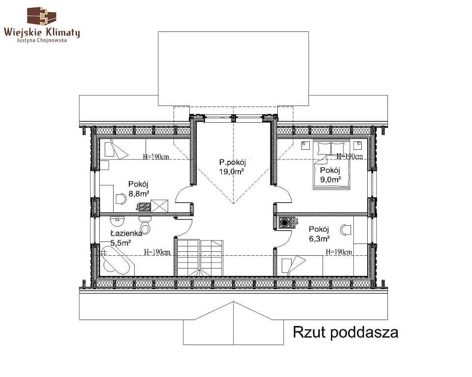 projekt domu drewnianego mazurskiego lenka 1,2