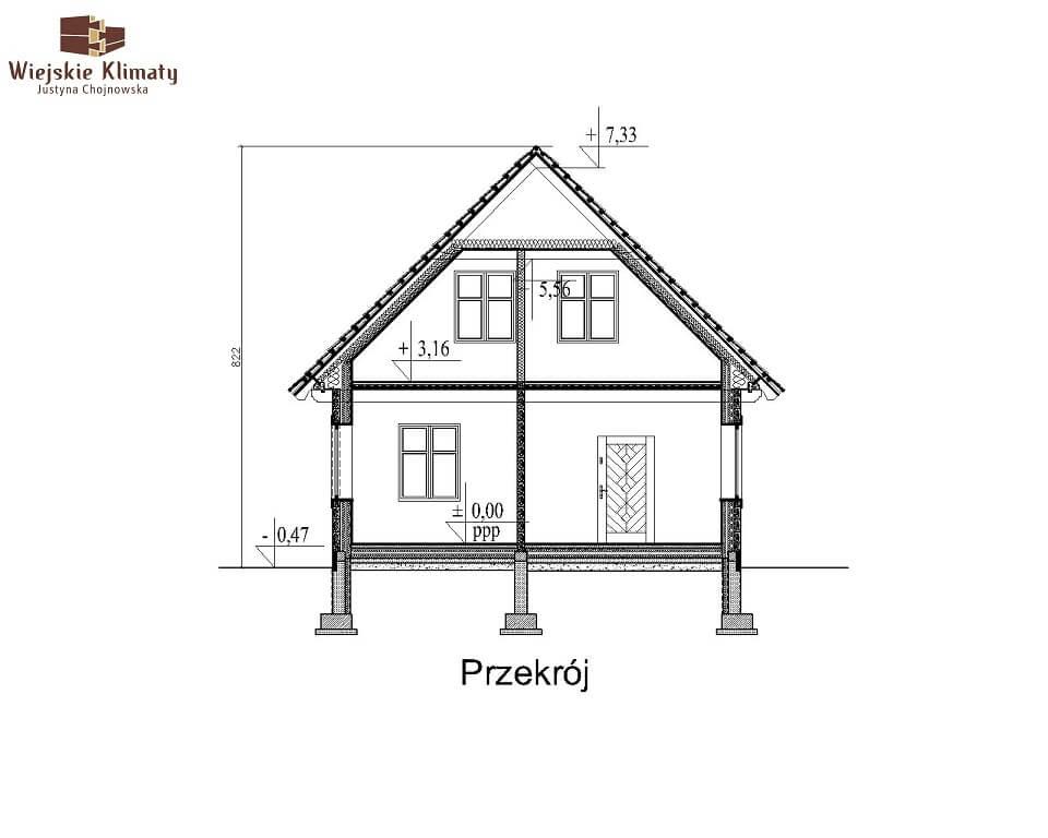 projekt domu drewnianego mazurskiego lenka 1,7