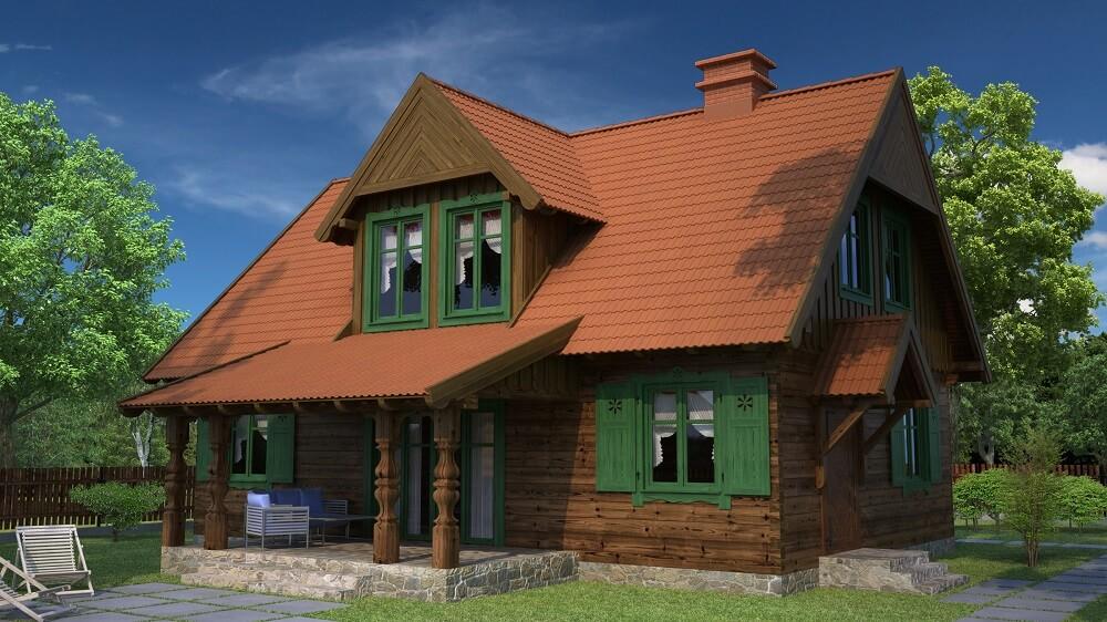 projekt domu drewnianego mazurskiego lenka 1,9