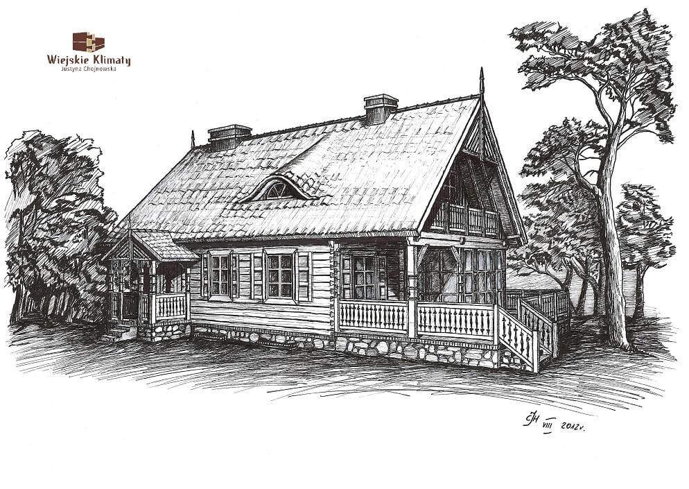 projekt domu drewnianego mazurskiego maranka