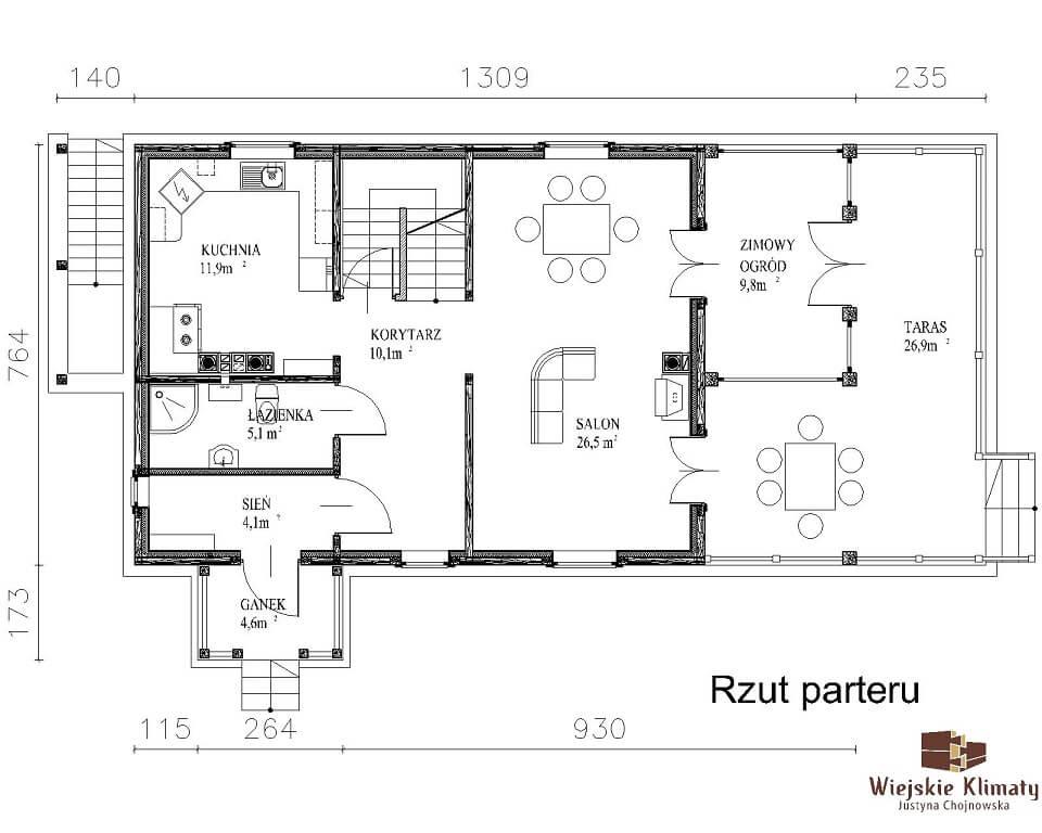 projekt domu drewnianego mazurskiego maranka 1.2
