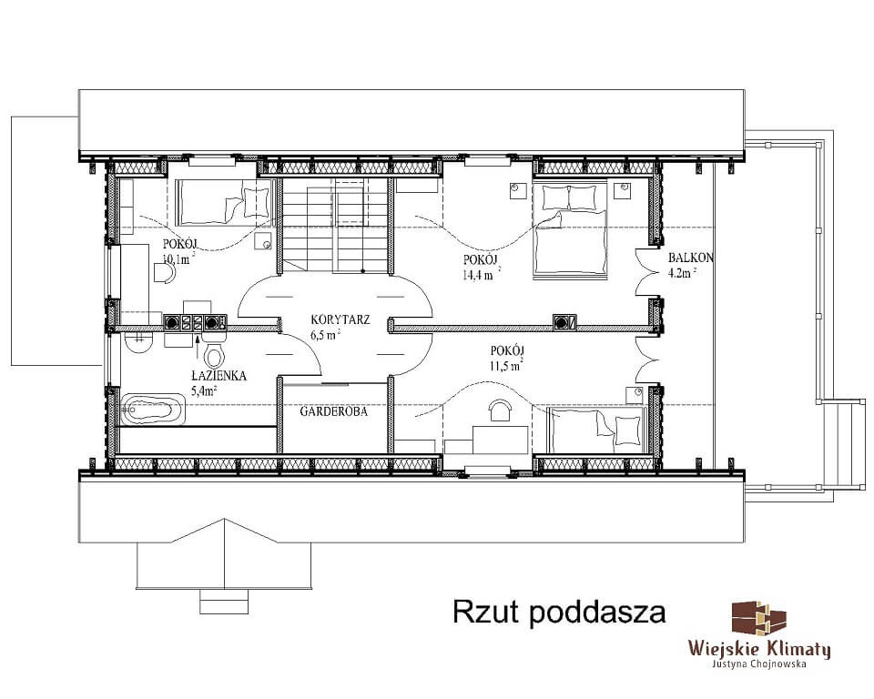 projekt domu drewnianego mazurskiego maranka 1.3