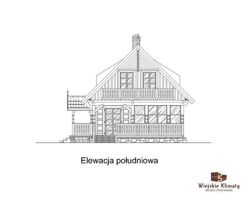 projekt domu drewnianego mazurskiego maranka 1.7