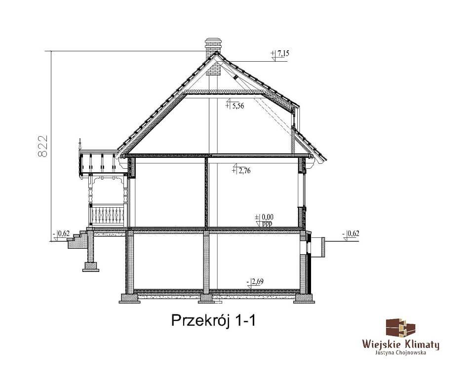 projekt domu drewnianego mazurskiego maranka 1.8