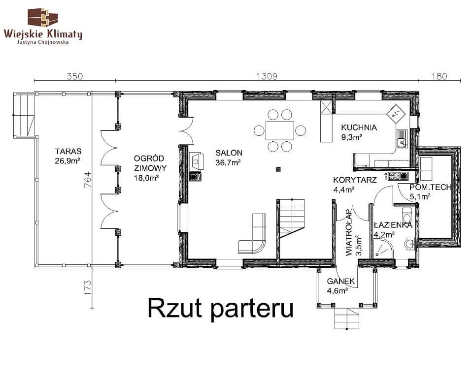projekt domu drewnianego mazurskiego maranka 4,1