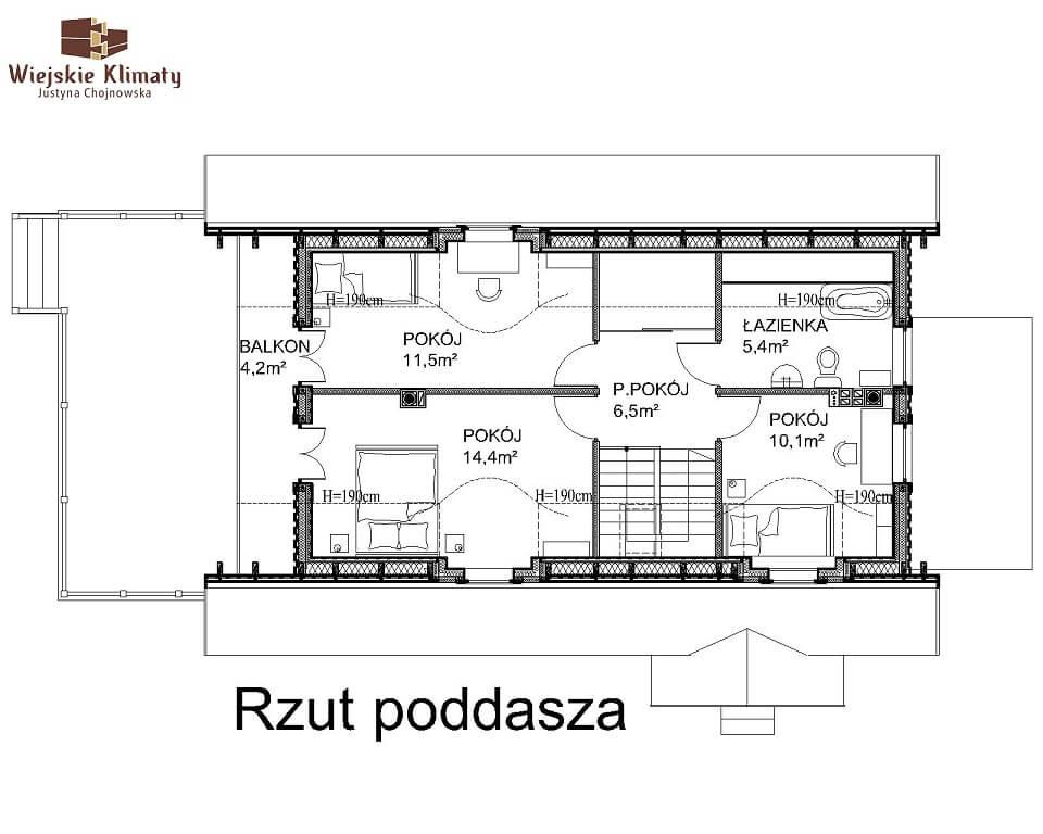 projekt domu drewnianego mazurskiego maranka 4,2