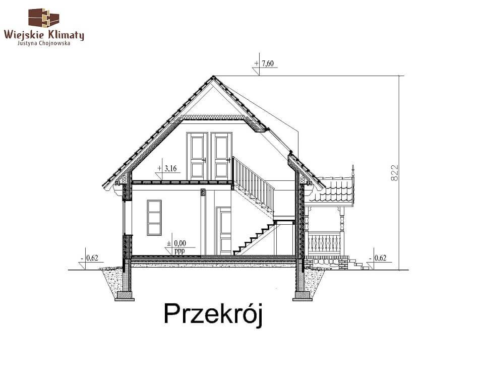 projekt domu drewnianego mazurskiego maranka 4,7