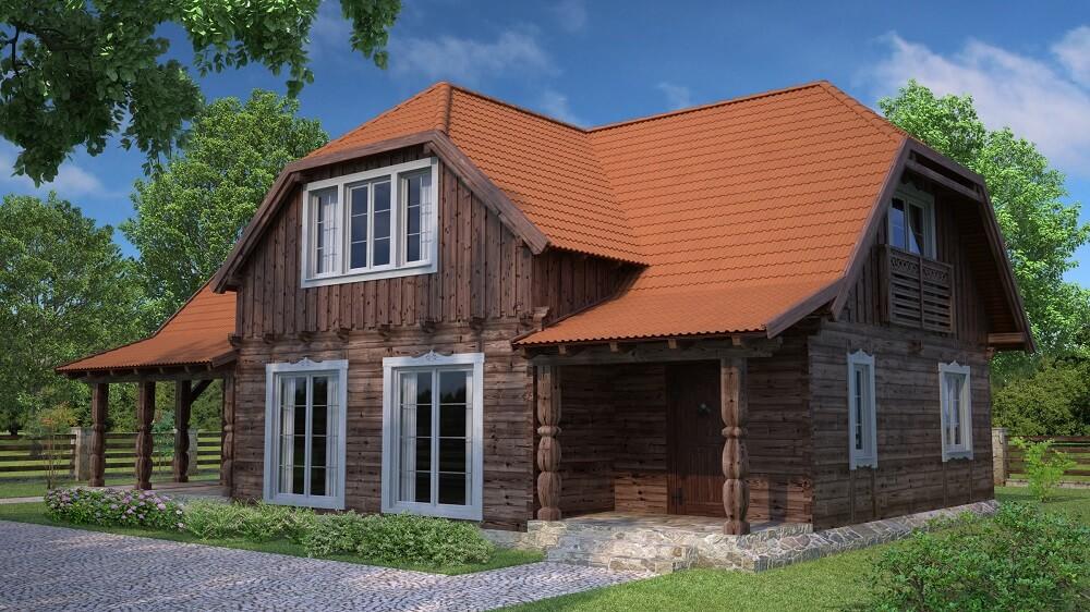 projekt domu drewnianego z bala wianek 1,10