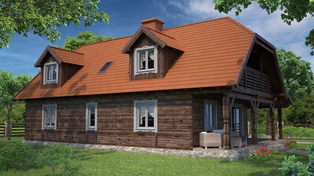 projekt domu drewnianego z bala wianek 1,11