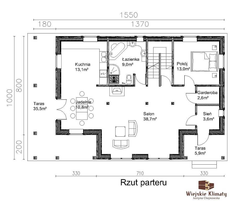 projekt domu drewnianego z bala wianek 1,2