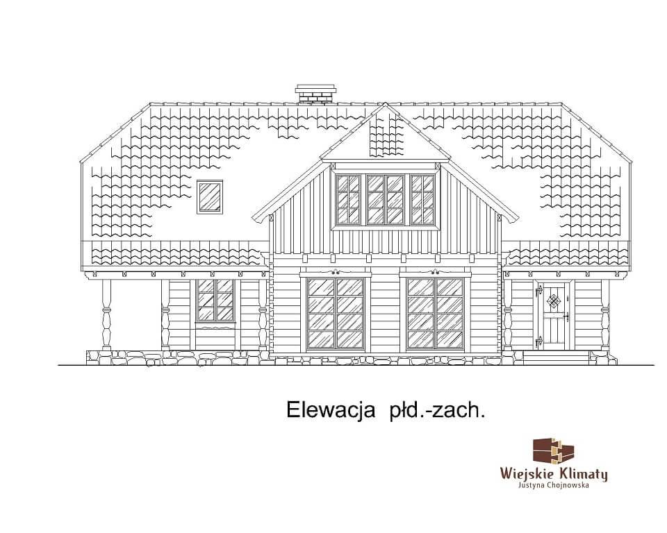 projekt domu drewnianego z bala wianek 1,4