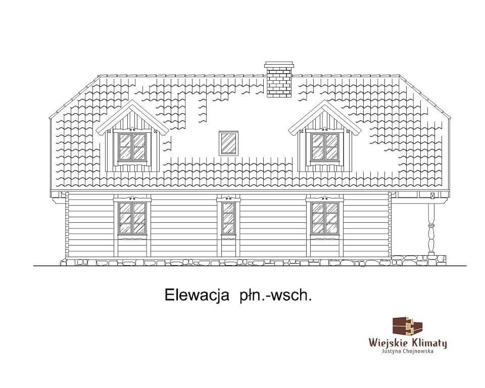 projekt domu drewnianego z bala wianek 1,5