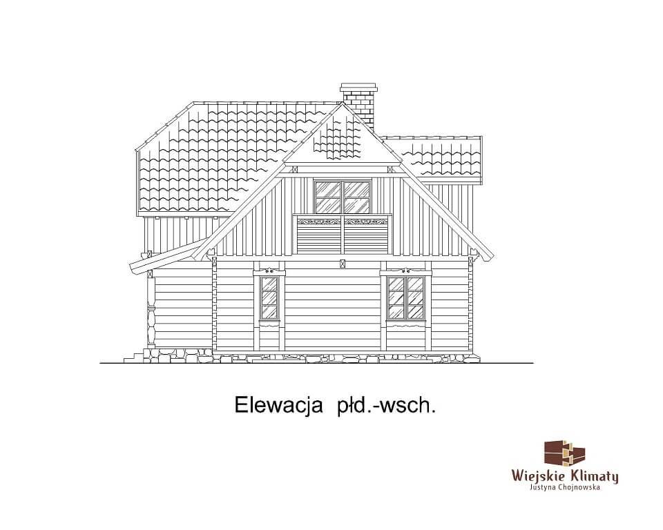 projekt domu drewnianego z bala wianek 1,6