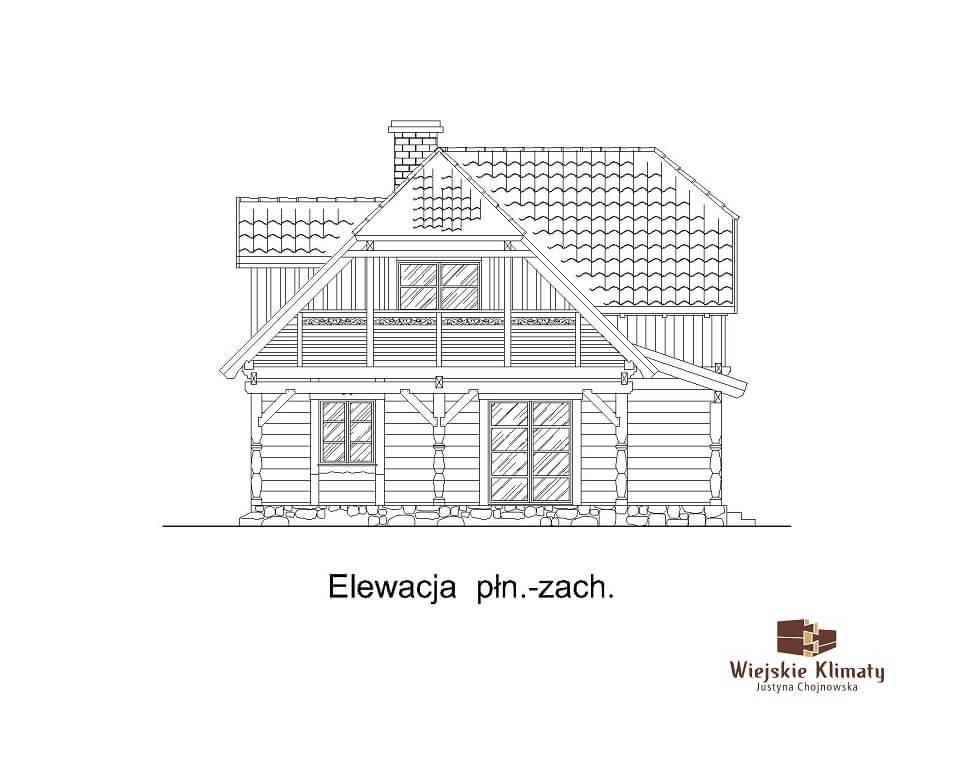 projekt domu drewnianego z bala wianek 1,7