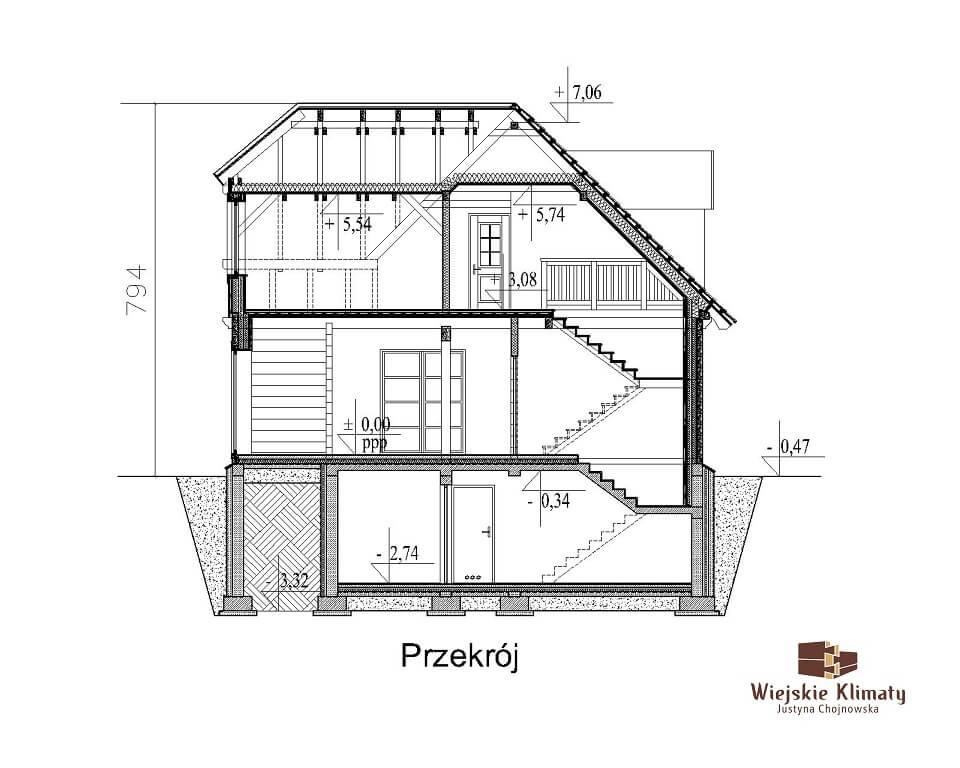 projekt domu drewnianego z bala wianek 1,8