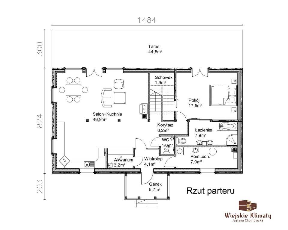 projekt domu drewnianego z bali ranek 1,1
