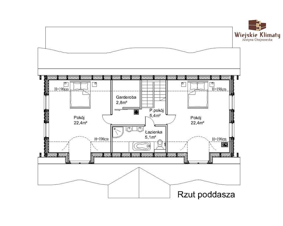 projekt domu drewnianego z bali ranek 1,2
