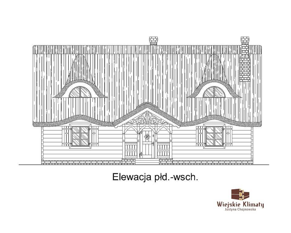 projekt domu drewnianego z bali ranek 1,3