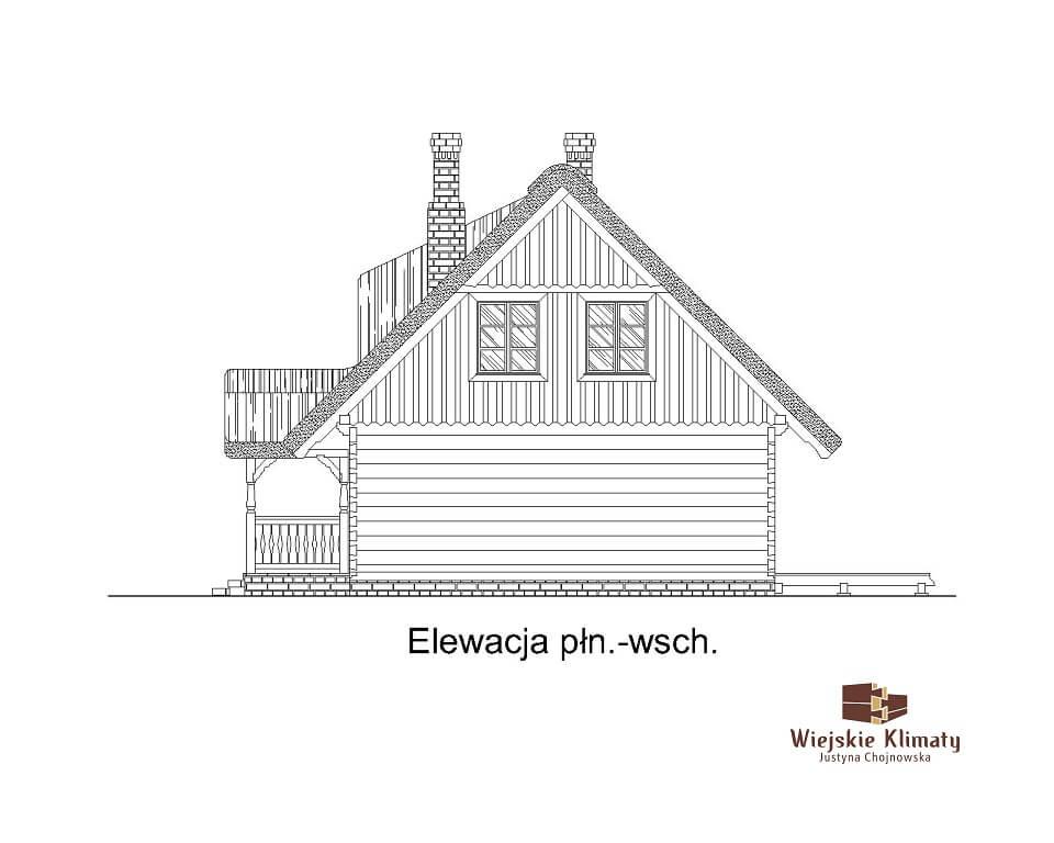 projekt domu drewnianego z bali ranek 1,5