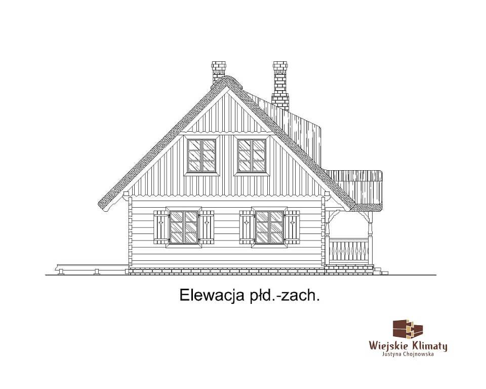 projekt domu drewnianego z bali ranek 1,6