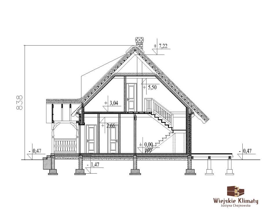 projekt domu drewnianego z bali ranek 1,7