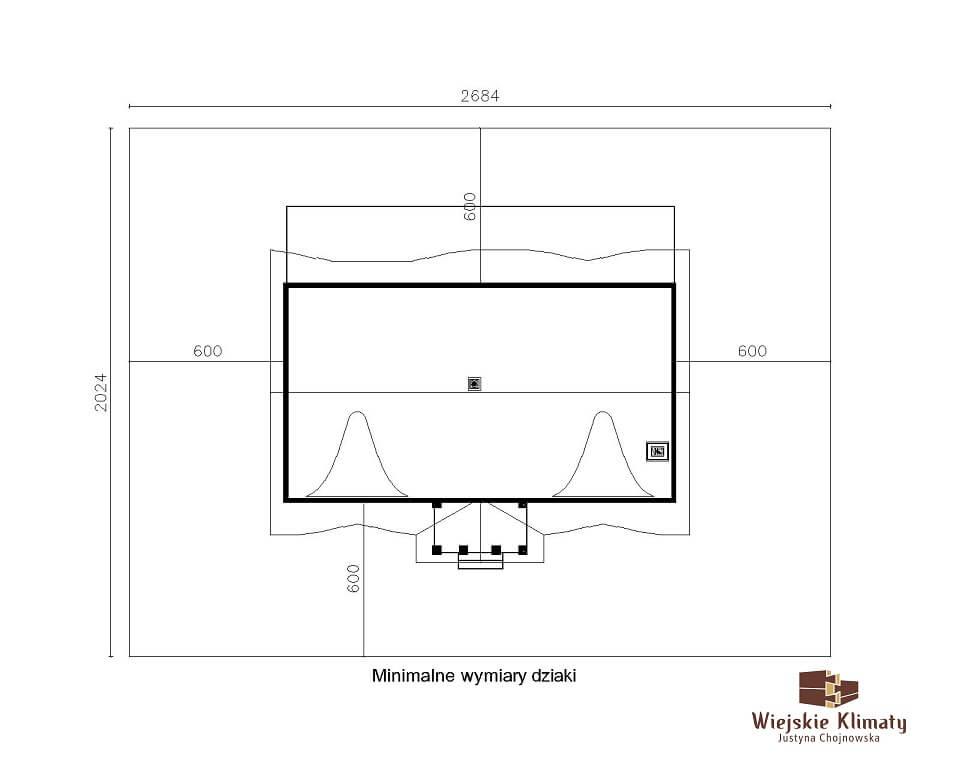 projekt domu drewnianego z bali ranek 1,8