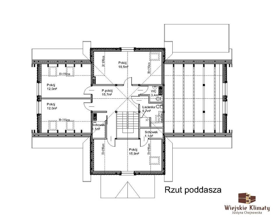 projekt domu mazurskiego z bali struga 1,2