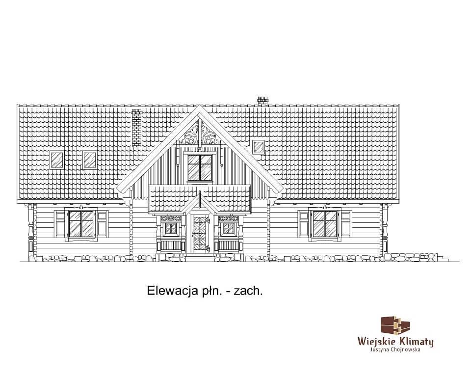 projekt domu mazurskiego z bali struga 1,3