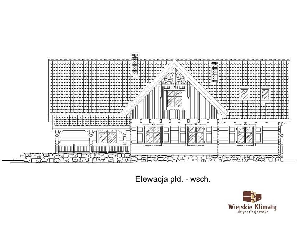 projekt domu mazurskiego z bali struga 1,4