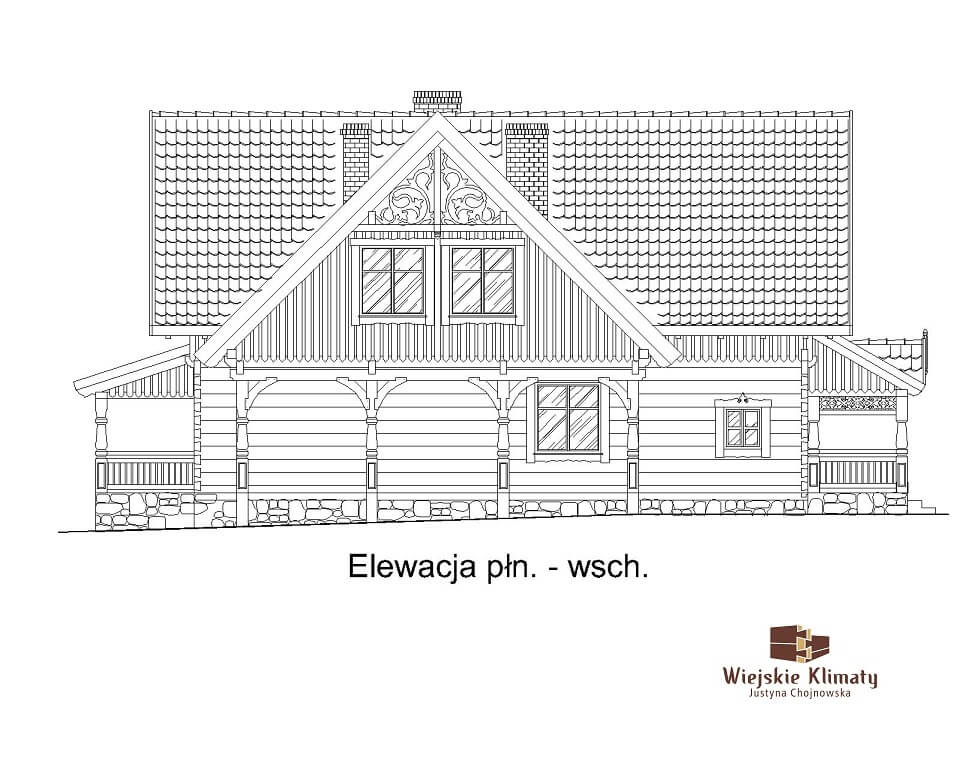 projekt domu mazurskiego z bali struga 1,5