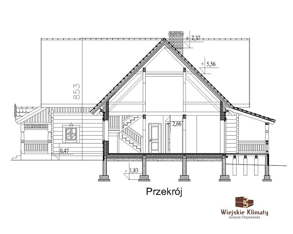 projekt domu mazurskiego z bali struga 1,7