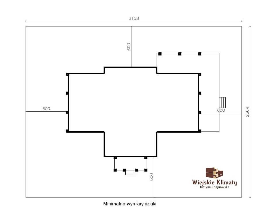 projekt domu mazurskiego z bali struga 1,8