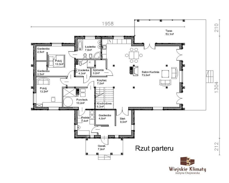 projekt domu mazurskiego z bali struga 1,9