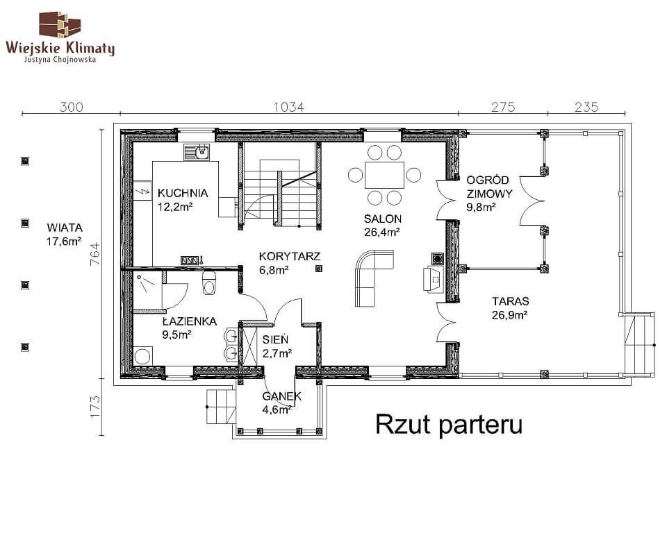 projekt domu z bala maranka 2,2