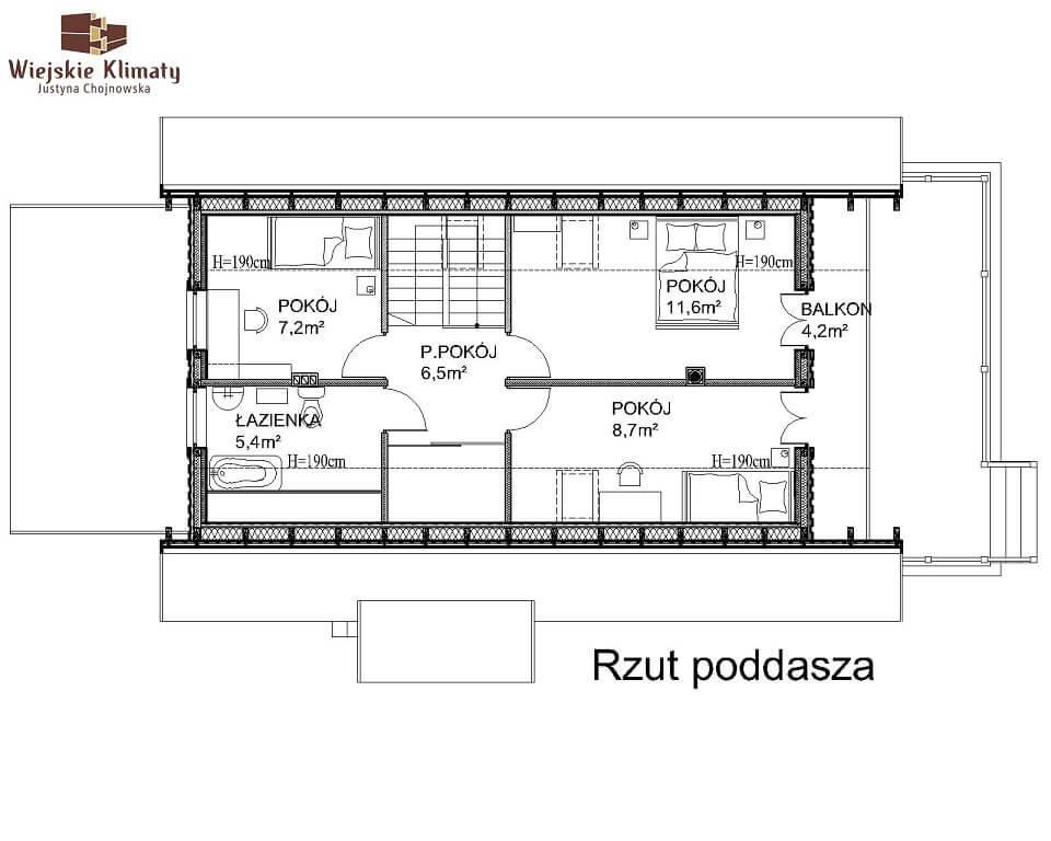 projekt domu z bala maranka 2,3