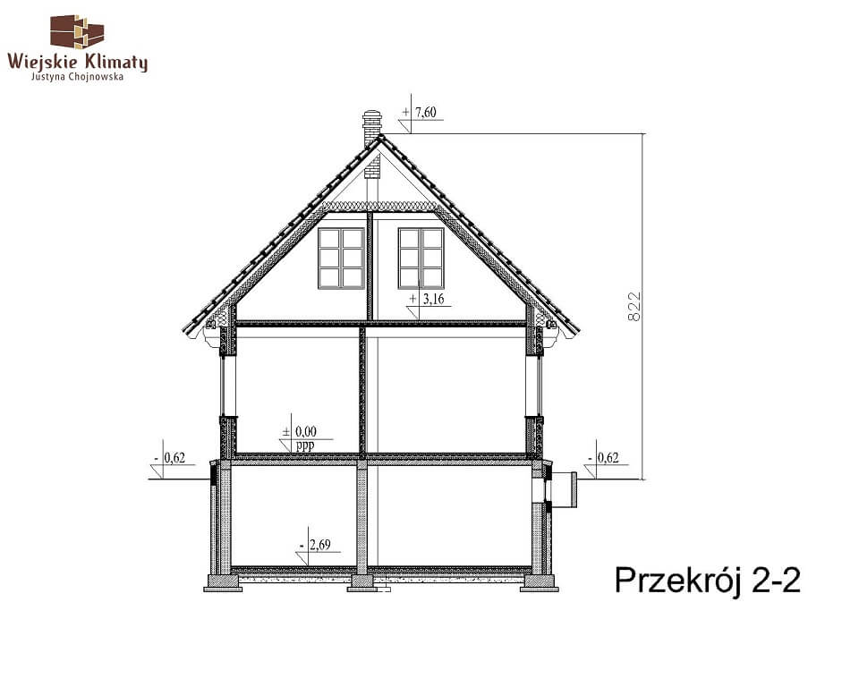 projekt domu z bala maranka 2,8