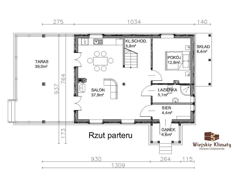 projekt domu z bala maranka 3,1
