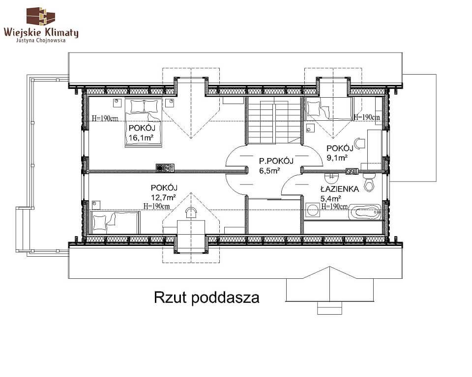 projekt domu z bala maranka 3,2