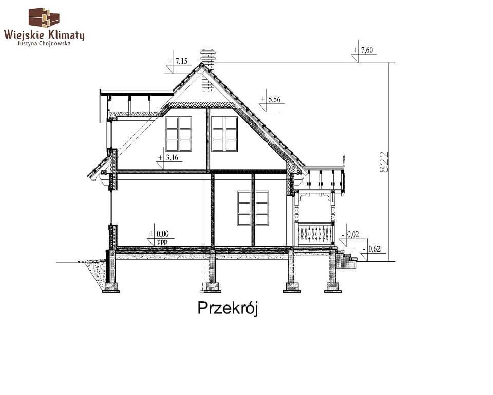 projekt domu z bala maranka 3,7