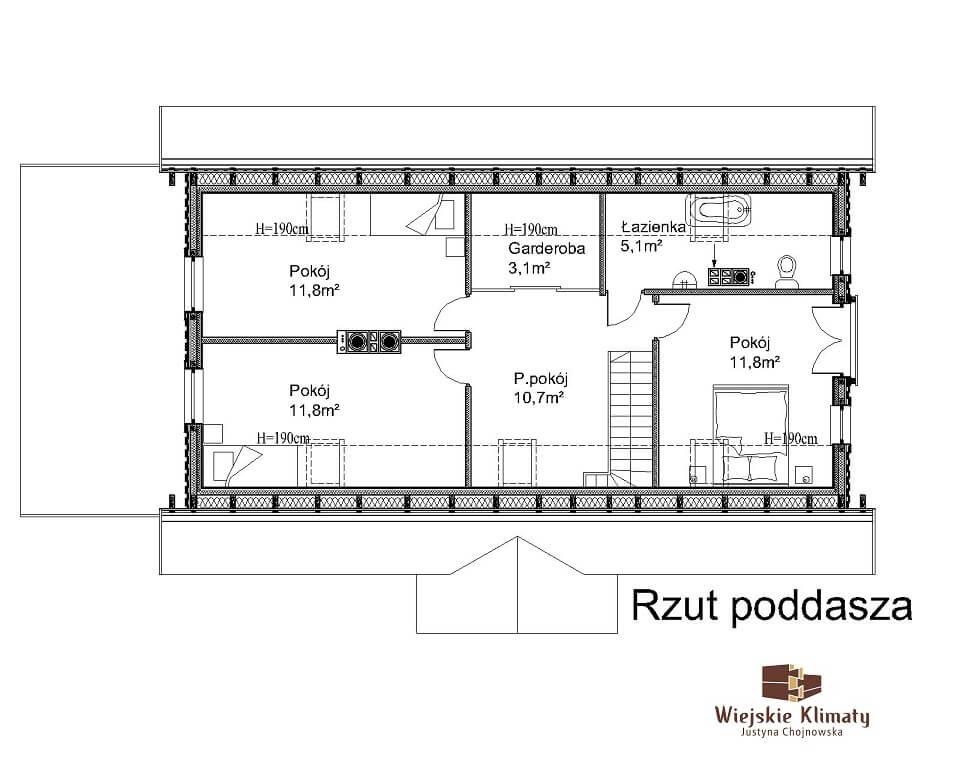projekt domu z bali Ładyszka 1,2