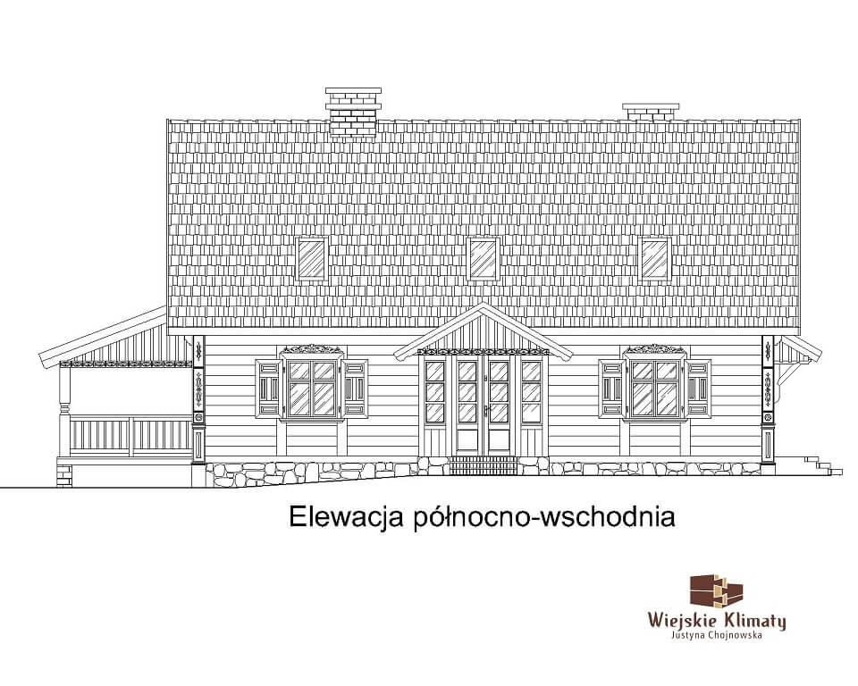 projekt domu z bali Ładyszka 1,3