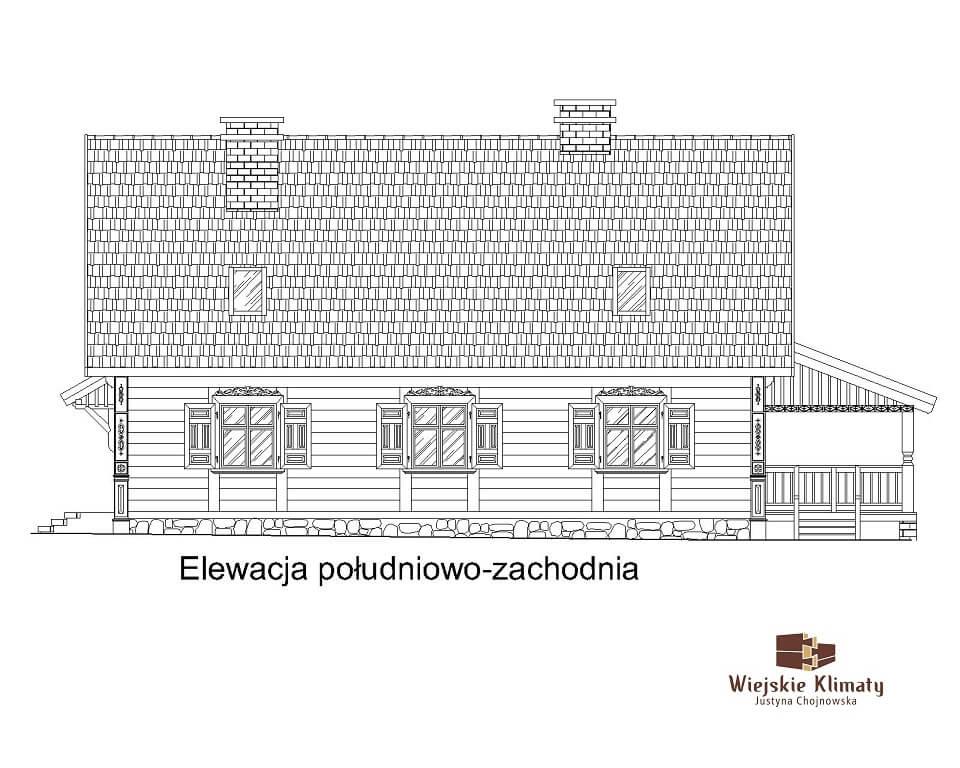 projekt domu z bali Ładyszka 1,4