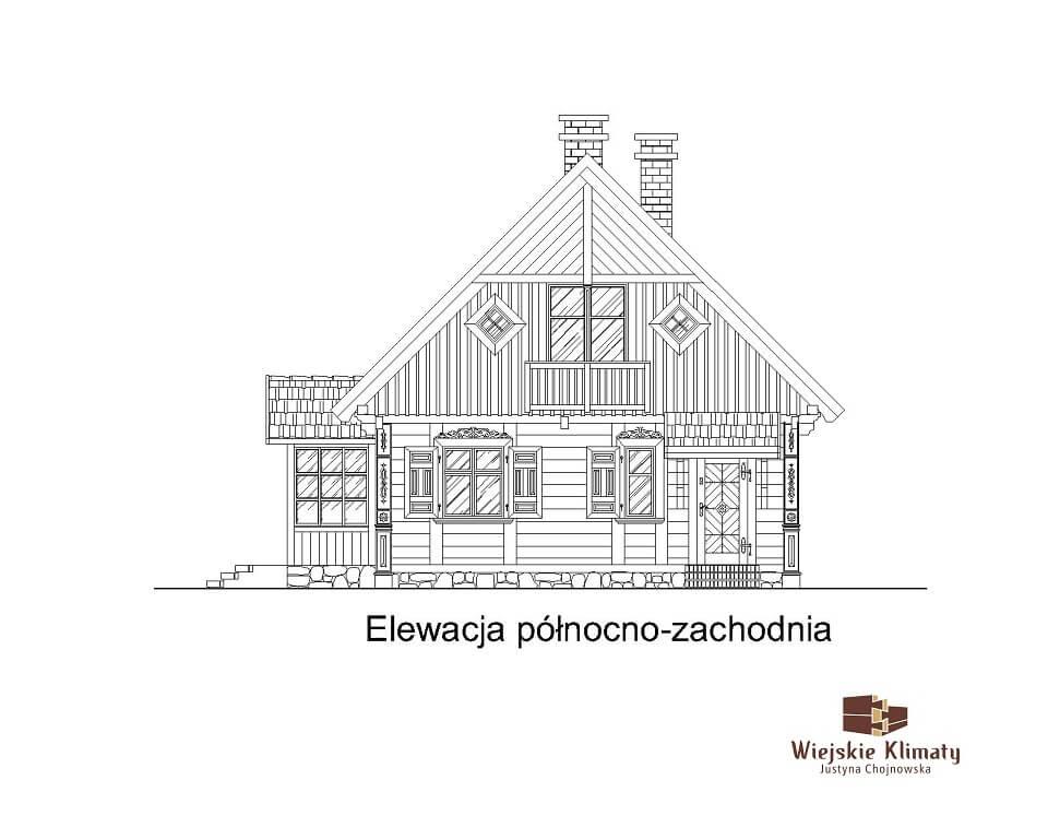 projekt domu z bali Ładyszka 1,5