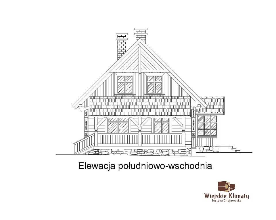 projekt domu z bali Ładyszka 1,6