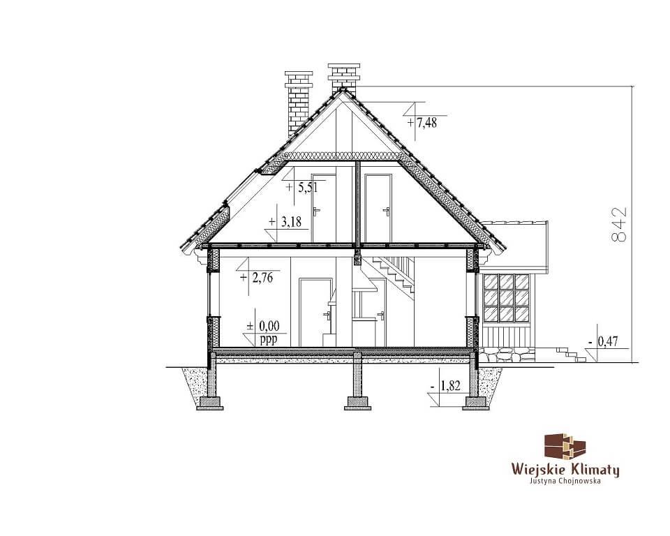 projekt domu z bali Ładyszka 1,7