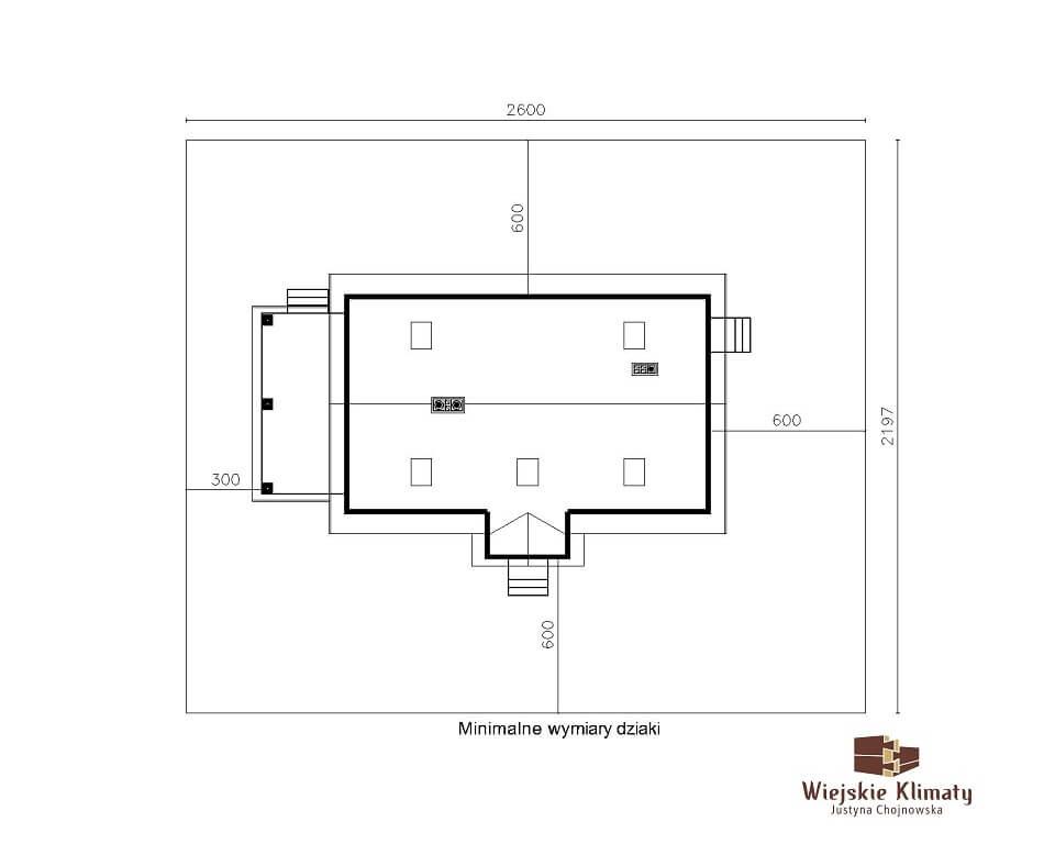 projekt domu z bali Ładyszka 1,8