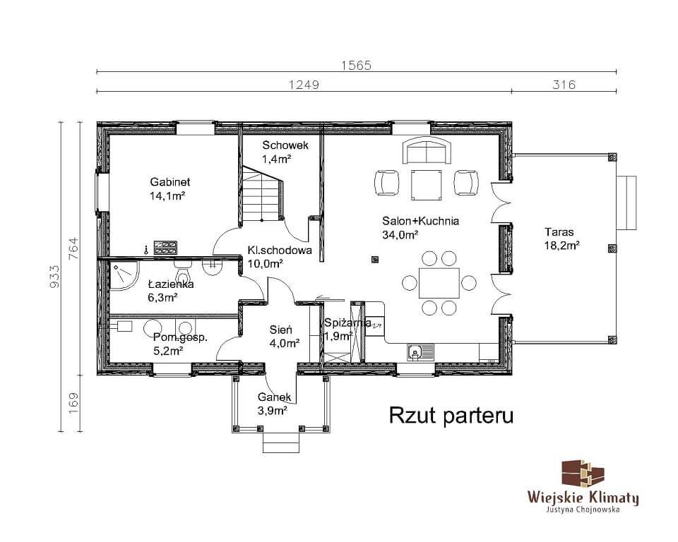 projekt domu z bali borowina 3,1