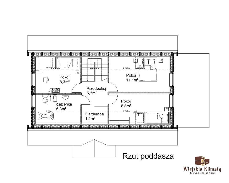 projekt domu z bali borowina 3,2